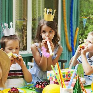 10Pcs Kids Birthday Hats Crown Prince Princess Party Decoration Paper Decor UK