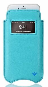 iPhone 8 / 7 Case Wallet Faux Blue KILLS 99.9% VIRUSES Screen Cleaning Sleeve