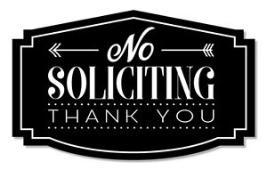 No Soliciting Sign Thank You, Black/White