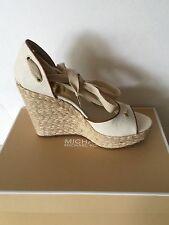 MICHAEL KORS Lilah Natural Canvas Espadrille Wedge Sandals US Size 9