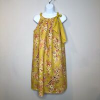 Bellambia Dress Yellow Linen Floral Italy Small Halter Shift Boho Festival