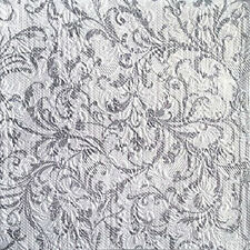 Ambiente Lunch/Wedding Paper Napkins 33x33cm Elegance Embossed White/Silver