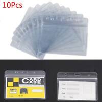 10Pcs Clear PVC Waterproof Vertical ID Badge Card Plastic Pocket Holder Pouches
