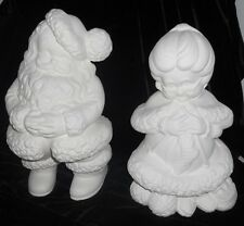 "C-0270 14"" Large Winking Mr. & Mrs. Santa Claus Ceramic Bisque Ready to Paint"