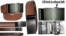 """New Men's belt. Leather Dress Belt Quick Automatic Lock. Silver buckle up to 43"""""""
