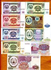 SET Tajikistan, 1;5;10;20;50;100;200;500;1000 1994 P-1;2;3;4;5;6;7;8;9 UNC