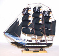 large 24 IN PIRATE WOOD SHIP wooden boat sail boats WOODEN COLLECTORS TOY SHIPS
