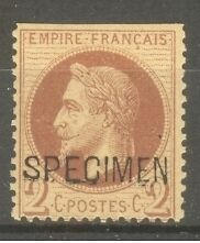 """FRANCE STAMP TIMBRE SPECIMEN N° 10 """"NAPOLEON III 2c ROUGE-BRUN"""" NEUF x A VOIR"""