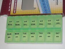 MEDICINE PILL BOX ORGANIZER DRUG DISPENSER GREEN 2 STRIP OF 7 SEE MY OTHER ITEMS