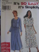 Simplicity Pattern 9710 Misses EASY Dress XS-XL UNCUT