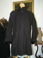 Regular Hilary Radley Boiled Wool Faux Fur Dark Brown Coat Shearling lined 6