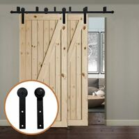 Rollers Track Bypass Sliding Barn Door Hardware Kit for Bypass Barn Double Door