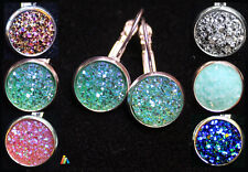 925 SILVER STAMPED EARRINGS & SPARKLY RESIN DRUZY CABOCHON  24X12mm  LEVER BACK