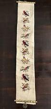 Vintage Handmade Wool Needlepoint Scroll Wall Hanging Birds Brass Bamboo Ends