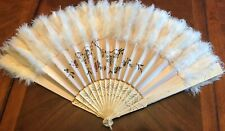 Vintage Hand Painted Satin Silk Fan with bone sticks, Feather trim