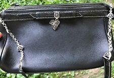 * BRIGHTON Heart Charms  LEATHER Small  Romantic Victorian HANDBAG Evening Bag *