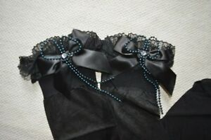 1980's Lace Ruffle Bow Stockings Lycra Gothic Black