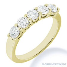 Round Cut Moissanite Shared 4-Prong Ring 5-Stone Wedding Band in 14k Yellow Gold