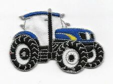 Iron On/ Sew On Embroidered Patch Badge Tractor Farm Farmer Blue