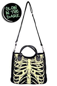 Black Gothic Emo Punk Rockabilly Glow in The Dark Skeleton Bag BANNED Apparel