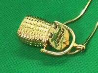 Longaberger Collectors Club Nantucket Basket Pendant Chain Necklace Gold tone