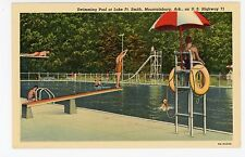 Swimming Pool—Mountainburg AR Lake Ft Smith—Vintage Linen Lifeguard 1940s