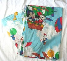 Vtg Mickey Minnie Mouse Twin Flat Fitted Sheet Air Balloon Dumbo Chip Dale T34