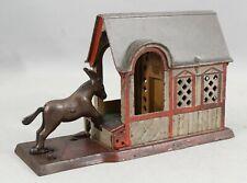 Antique 1880 J E Stevens Cast Iron Mechanical Bank, Mule Barn Malicious Donkey