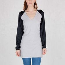 Nike NSW LS Baseball Mini Dress or Long Shirt in BLACK & GREY XS *NWT* RP$150