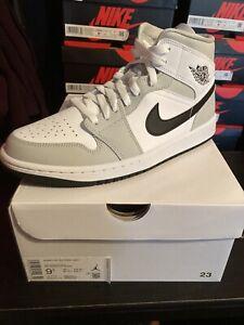 Nike Air Jordan 1 Mid Shoes Gray Fog Black White BQ6472-015 Size 9.5W, 8 Men NEW