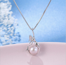 "925 Sterling Silver Freshwater Purple Pearl Mermaid Pendant 18"" Chain Necklace"