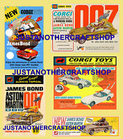 Corgi Toys James Bond 261 270 336 811 Set of 5 Posters Adverts Leaflets Signs