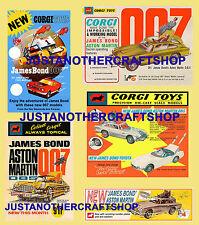 Corgi toys james bond 261 270 336 811 lot de 5 affiches publicités tracts signes