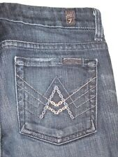 7 for all Mankind Jeans Chain A Pocket Stretch Dark Distressed Sz 24