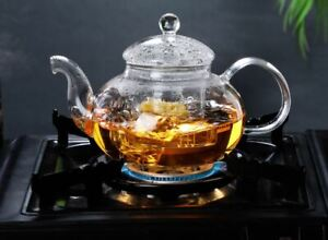 Gas Stove Heatable Glass Teapot Glass Kettle With Glass Infuser Tea Maker 5 Size
