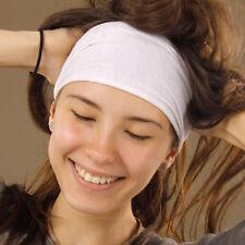 Plain White Soft Cotton One Size Durag Headband Stretch Fit Boho Gypsy Hippy