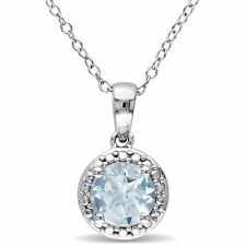 Amour Sterling Silver Aquamarine Necklace