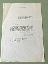 1949 President Herbert Hoover Signed Letter Waldorf-Astoria: James Blaine NY CoC