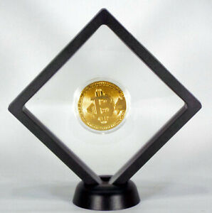 ✅ BITCOIN GOLD FLOATING COIN DISPLAY - COLLECTORS COMMEMORATIVE ROUND GREAT GIFT