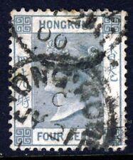 HONG KONG Queen Victoria 1896 4 Cents Slate Grey Wmk Crown CA SG 34 VFU