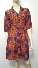 Odd Molly Creative Flying Dress Sz 2 Purple Orange 3/4 Sleeve Cotton Silk