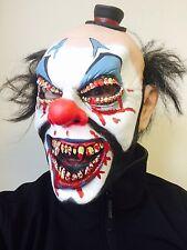 Scary Evil Clown Mask Teeth Red Nose IT Halloween Horror Fancy Dress Costume