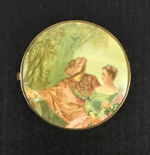 """Vintage Victorian Compact Mirror Love Purse 2-Sided Floral Gold Trim 4 1/4"""" Thin"""