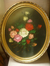 LARGE FLORAL PAINTING DUTCH OLD MASTERS FLORAL STYLE OVAL GILT FRAME PAINTING