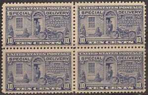 US Stamp - 1922 10c Special Delivery Deep Ultramarine Perf 11 - 4 stamp Blk #E12