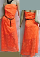 Rue + neon orange plus 2fer floral see throug strapless belted maxi dress 3X