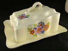 Vintage FS Ceramic Floral Cheese/Butter Dish Wedge Shaped Lid - Made in Romania
