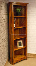 Corner Solid Wood Bookcase Display Unit Storage 5 Shelves Indian Sheesham 180cm