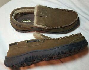 Clarks Dawson Men Size 8 Brown Slip On Moccasin Slippers Hard Sole Sherpa