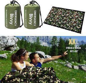 2× Emergency Survival Tent Blanket Sleeping Bivvy Bag Reflective Shelter Camping